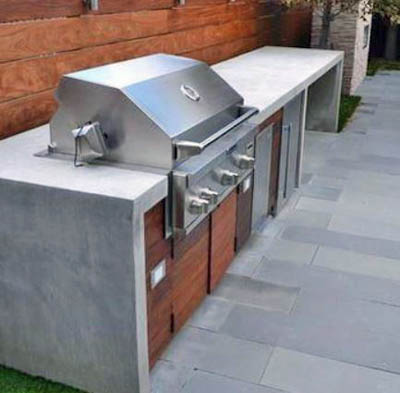 This picture shows Seattle concrete countertops for BBQ or outdoor kitchen