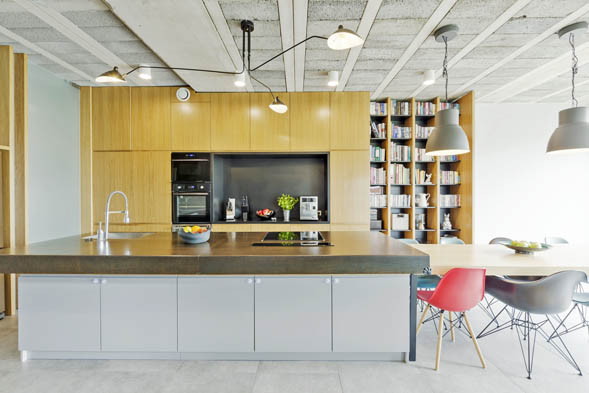 This picture shows a kitchen with concrete countertops Seattle. Modern Design and Style.